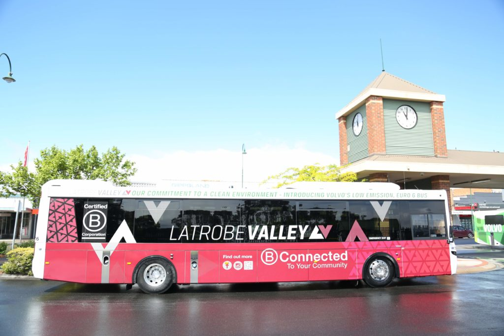 GROW Gippsland - Side View Red Latrobe Valley Bus